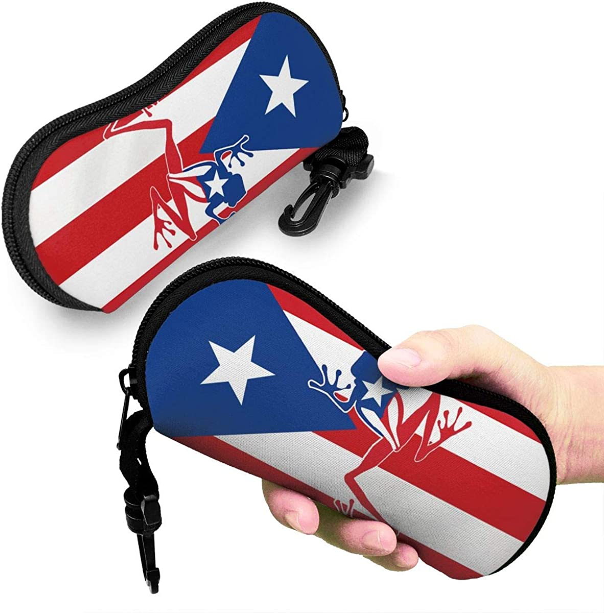 Sunglasses Case Puerto Rico Frog Flag Hard Glasses Eyeglass Case With Clip On For Woman