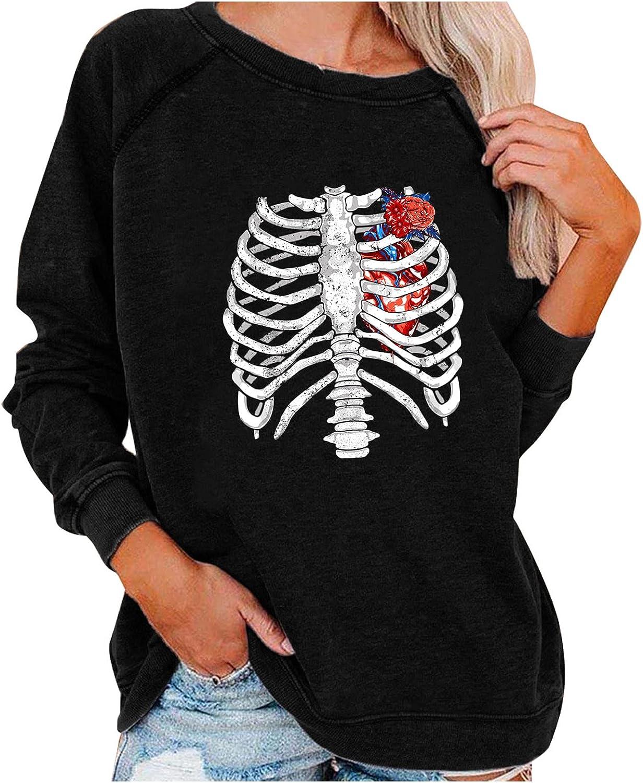 BFSAUHA Super special price Very popular Halloween Costumes Womens Long Skeleto Sweatshirt Sleeve