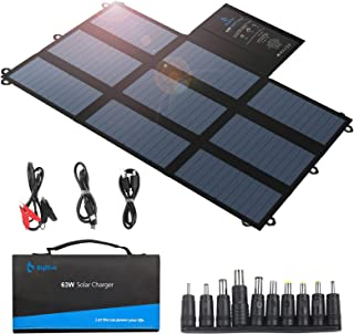 BigBlue 63W Foldable Solar Charger Portable SunPower Solar Panel (Dual 5V USB+19V DC Output USB-C Port) for Power Station,...