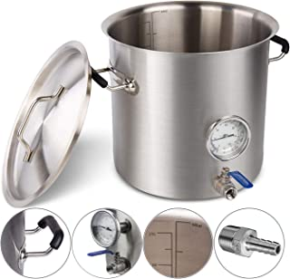 BACOENG 6 Gal Food Grade Tri-Ply Bottom Brew Kettle Pot w/Weldless Fittings for Home Brewing(Stainless Steel 304 VS Others 201)