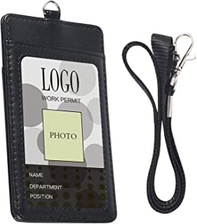 Lanyard with ID Badge Holder - Arae Vertical Leather ID Card Holder with Detachable Lanyard - Black