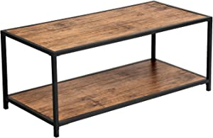 VASAGLE LET66BM Coffee Table Living Room Table Industrial Design with Shelf Living Room Office Sturdy Metal Frame Easy Assembly Wood Effect Vintage