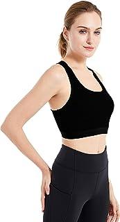 Women's Merino Wool Sports Bra Medium Support Crop Top Bralette for Yoga Gym