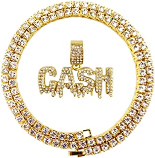 Hip Hop Iced Out Gold Faux Diamond Bubble Dripping Full Name Letters Tennis Chain 22 Inch