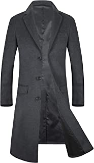 ELETOP Mens Coats Single/Double Breasted Winter Coat Wool Trench Coat