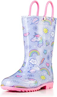 Puddle Play Toddler and Kids Rain Boots with Easy On Handles - Boys and Girls Colors and Designs