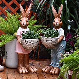 Garden statues outdoor 72cm Outdoor Garden Decor Rabbit Mr Hold Welcome Letter Statue Flower Pot Vintage Vase Animal Art S...
