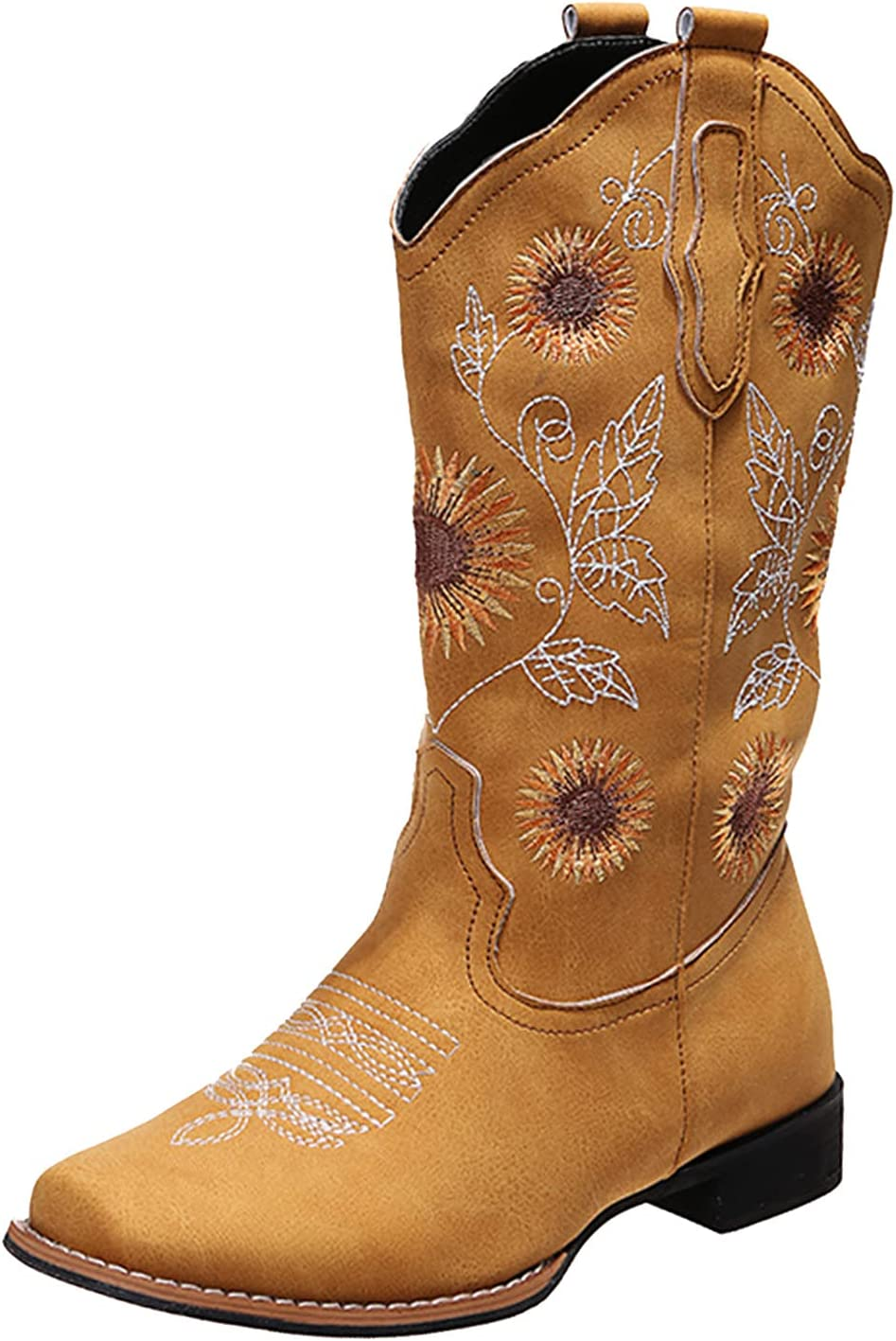 Western Boots for Women Cowboy Boots for Women Sunflowers Retro Print Embroidery Mid Calf Chunky Heel Square Toe Pull On Boots (J Yellow, 9.5-10)