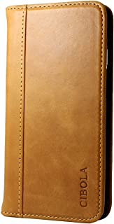 Huawei Case, CIBOLA Genuine Leather Wallet Case Folio Book Design with Kickstand, Credit Card Slots and Magnetic Closure Protective Cover Huawei P10 Plus Brown
