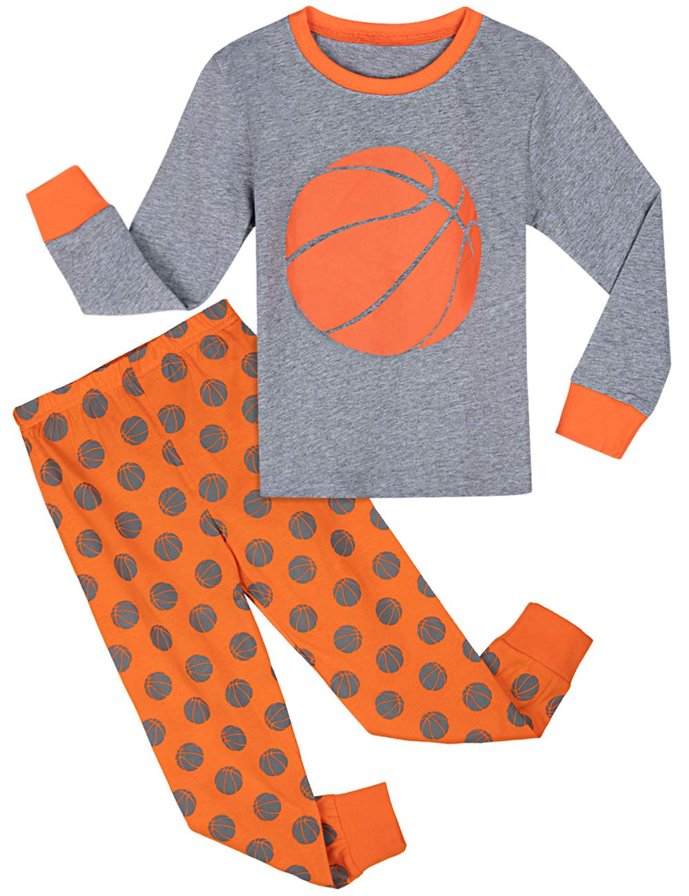 Image of Colorful Long Sleeve Basketball Pajamas for Boys