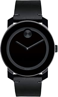 Movado Men's BOLD TR90 Watch with a Sunray Dot and Leather Strap, Black (Model 3600306)