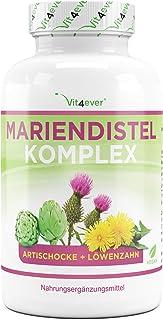Mariendistel Artischocken Löwenzahn Komplex – 240 Kapseln (4 Monatsvorrat) –..