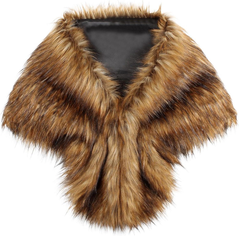 GREFER Women Luxury Bridal Faux Fur Shawl Wraps Cloak Coat Sweater Cape