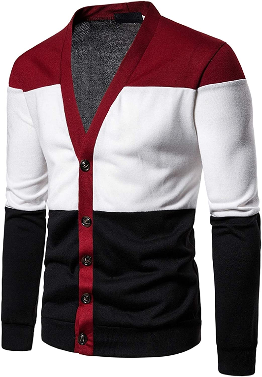 Mens Knitted Sweater Casual Patchwork Deep V Cardigan Pullover Sweatshirt