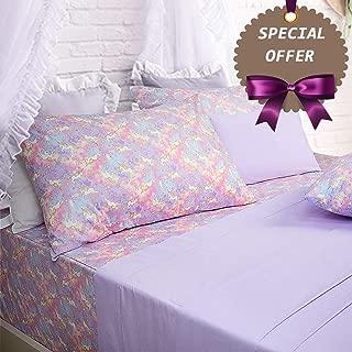 Brandream Pink Lavender Unicorn Bedding Sets Queen Size Girls Unicorn Sheets 100% Cotton Bed Sheet Set Deep Pocket 18 Inch(1 Top Sheet + 1 Fitted Sheet + 2 Pillowcases)