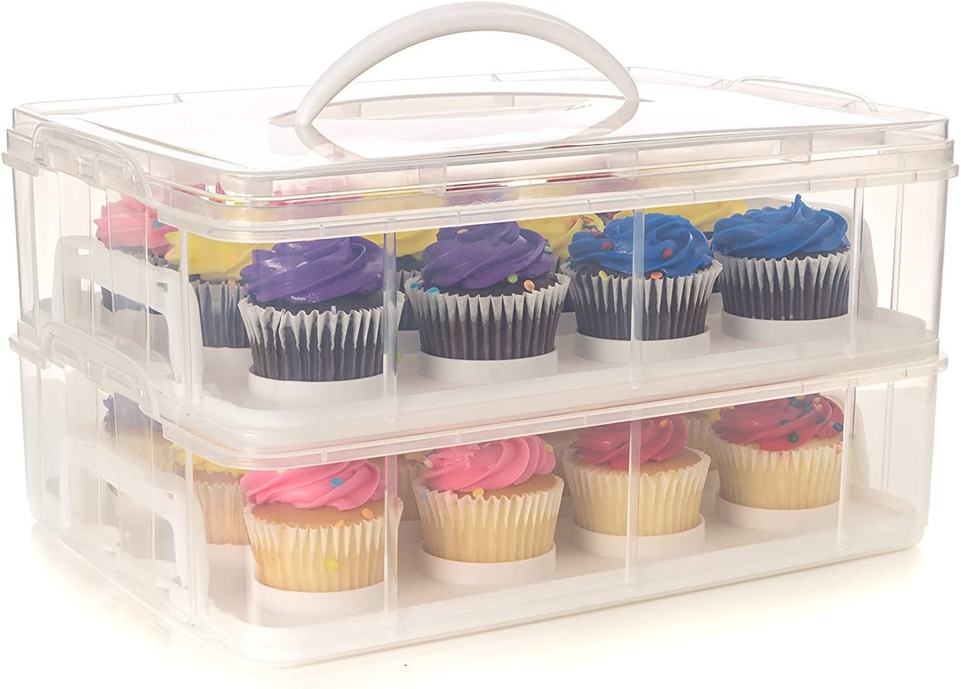 24 Large Cupcake Carrier Two Holder Cake Stack Max Over item handling 76% OFF Tiered