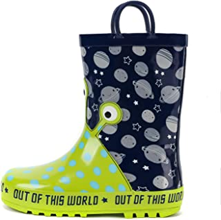mysoft Kids Rain Boots for Girls Boys Toddler Waterproof Rubber Cute Animal Printed with Easy-On Handles