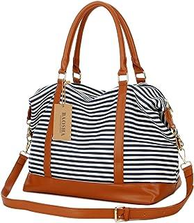 Baosha HB-28 Damen Canvas Carry-on Reisetasche Frauen Weekender Handgepäck Segeltuch Travel Duffel Wochenende über Nacht Tragetasche Blaue Streifen