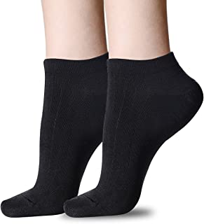 Women's Low Cut Socks,6-Pair Ankle No Show Athletic Short Cotton Casual Socks (Black-2 Pairs)