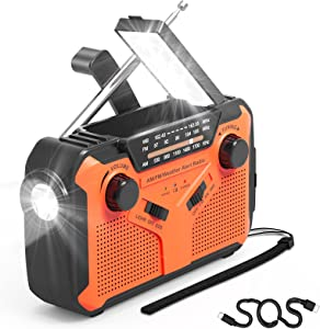 NOAA Emergency Weather Radio Portable Hand Crank Solar Weather Alert Radio NOAA AM FM with LED Flashlights, SOS Alarm, Reading Lamp, USB Charger, Ideal for Household and Outdoor Emergencys