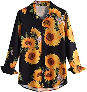 SPE969 Men's Dashiki Causal Flower Printed Shirt,Button Down Long Sleeve Shirt Fit Slim Blouse Top
