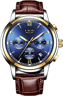 Men Leather Strap Watches Men's Chronograph Waterproof...