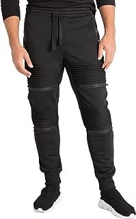 Vibes Mens Fleece Jogger Pant Double Moto Patch & Zipper Knee Trim Rib Cuff & Waist