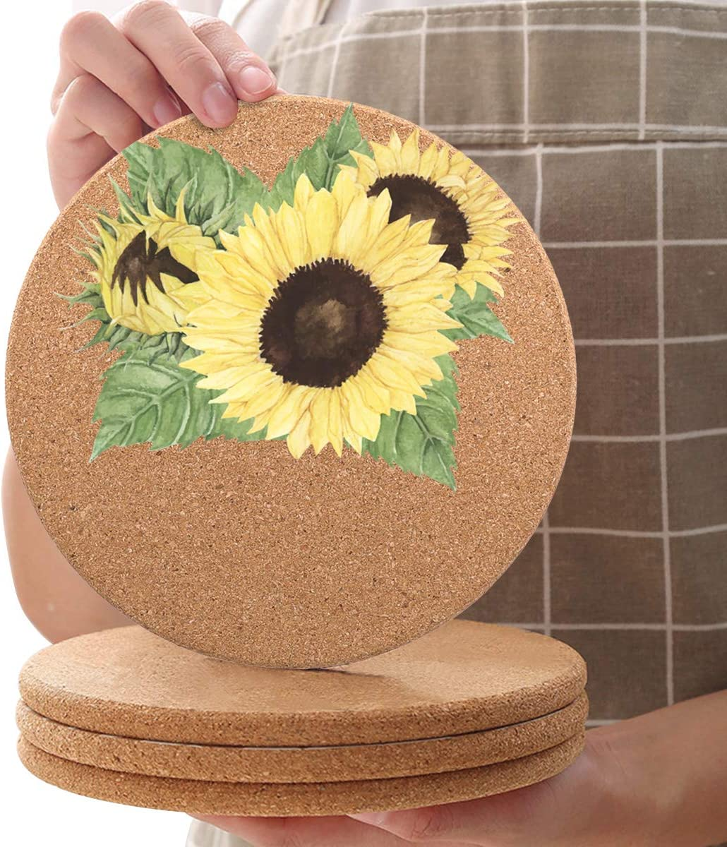 8 Pcs Yellow Floral Cork Limited time for San Diego Mall free shipping Trivets Mat Diameter R Coaster 7.9inch