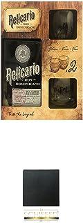 Relicario Ron Domenicano Rum in GP mit 2 Gläsern  Schiefer Glasuntersetzer eckig ca. 9,5 cm Durchmesser