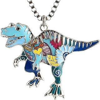 Unique Dinosaur Necklaces Gift for Women Girls Multicolor Enamel Tyrannosaurus Rex Pendants