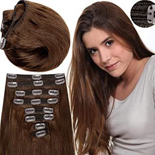 200g Real Triple Weft Extra Thick Clip in 100% Remy Human Hair Extensions Full Head (18 inch 200G 7.05Oz #04 Medium Brown) 8 Pcs Set Grade 10A Natural Hair Pieces Long Straight for Women