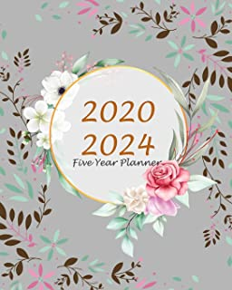 Five Year Planner 2020-2024: Gray Floral, 60 Months Appointment Calendar, Agenda Schedule Organizer Logbook, Business Planners and Journal With Holidays and inspirational Quotes