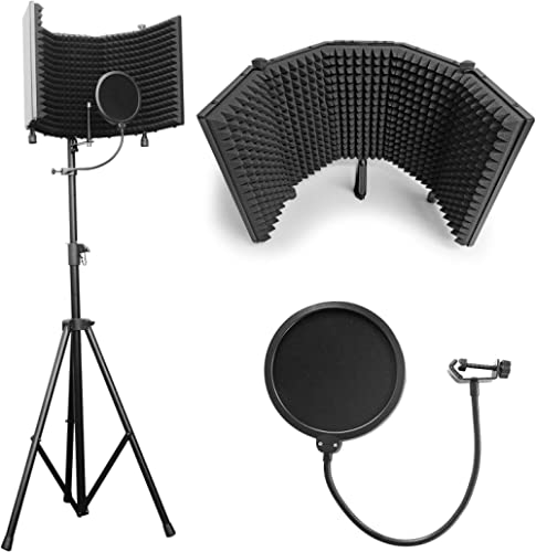 """AxcessAbles SF-101KIT Recording Studio Microphone 32.5""""Wx13""""H (422sq inch) Half Dome Isolation Shield with Tripod Sta..."""