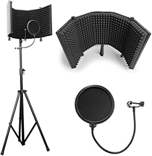 AxcessAbles SF-101KIT SF-101 استودیوی ضبط میکروفون Shield Shield w / Stand (سیاه)