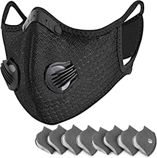 PETHREE Reusable Dust Face Mouth Sport Mouth, Adjustable Protective Mouth with 8 Carbon Filter for Cycling, Running, Outdoor Sports (Black)