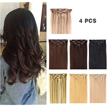 "14"" Clip in Hair Extensions Remy Human Hair for Women - Silky Straight Human Hair Clip in Extensions 50grams 4pieces #18-613 Color"