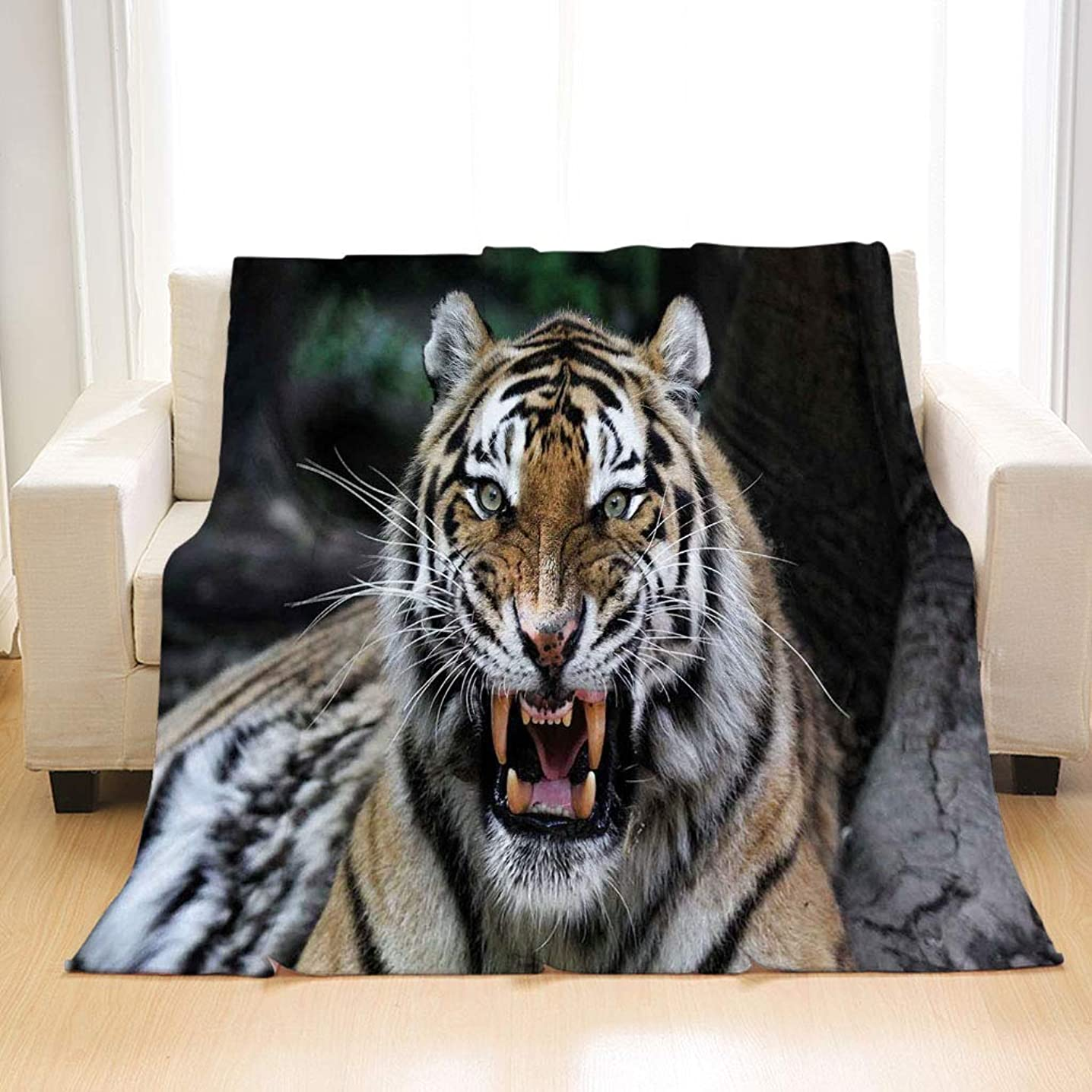 BEIVIVI Creative Design Flannel Soft Throw Blanket African Tiger Face with Roaring Wildlife Safari Savannah Animal Nature Zoo Photo Print Multicolor All Season Blanket for Bed Or Sofa, Easy Care