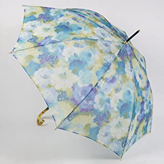 レディース雨傘 長傘 オーガンジーアンブレラ 「マスターフラワー」 エイト 23059 スカイブルー/シアン 花柄 軽量 おしゃれ 雨晴兼用雨傘 uvカット加工 ジャンプ傘 日本製