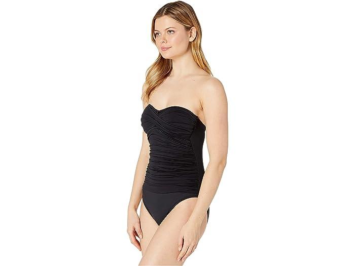 La Blanca Catch The Wave Goddess Shirred Bandeau One Piece Swimsuit