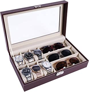 Pasutewel Watch Jewellery Display Storage Box Leather Sunglass Display Organizer Case Holder Gift for Men and Women 6 Watches and 3 Eyeglasses (Brown)