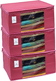 Kuber Industries 3 Piece Non Woven Saree Cover Set, Pink,Large Size -CTKTC6408