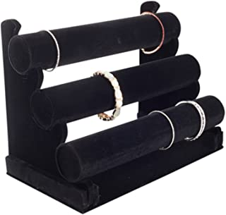 Plixio Velvet Bracelet Holder with Three Tier Rack- Bracelet Stand for Jewelry Organization and Display
