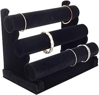 Plixio Velvet Bracelet Holder with Three Tier Rack- Bracelet Stand for Jewelry Organization and Display