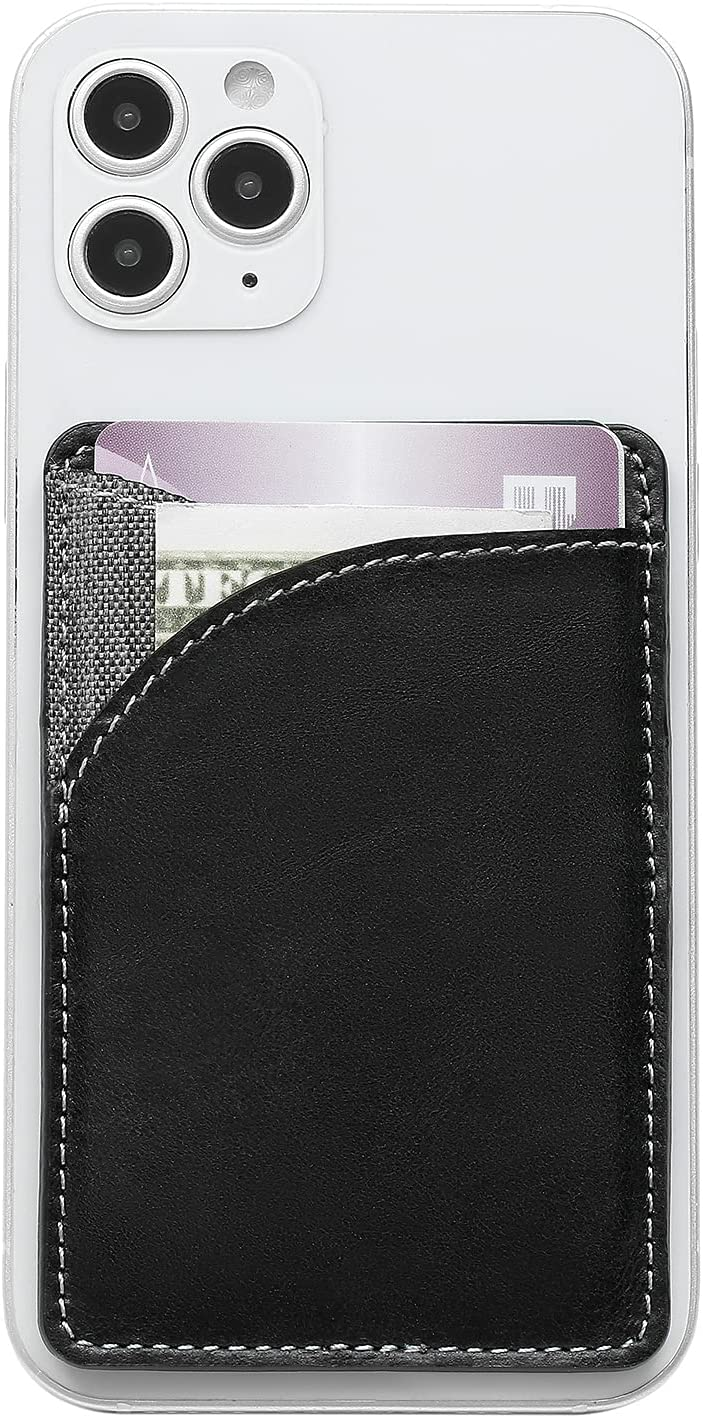 MISXIAO Card Holder for Back of Phone, Stick on Wallet Functioning As Credit Card Holder, Leather Phone Wallet & iPhone Card Holder 丨 Card Wallet for Cell Phone