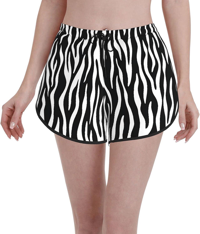 Women's Girl's Swim Trunks,Zebra Skin Design Animal Print,Beachwear Swimsuits Board Shorts Bathing Suits,M