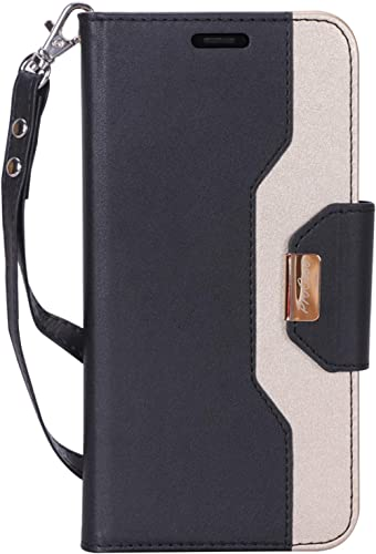 ProCase Wallet Case for iPhone XR, Folio Flip Case with Kickstand Card Holders Mirror Wristlet, Folding Stand Protect...