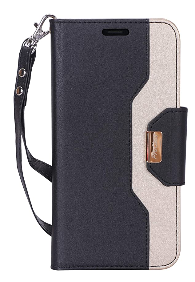 ラジエーターアーチ泣き叫ぶProCase iPhone XR 手帳型ケース フリップ キックスタンド カードスロット 鏡付き 財布型 リストレット 折りたたみ スタンド 保護カバー ケース Apple iPhone XR対応(2018発売) -ブラック