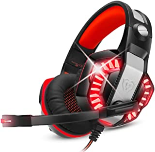 ENVEL Gaming Headset for PS4 with Mic,PC,Xbox One,Laptop,Surround Sound Over Ear Noise Cancelling Headphone with LED Light...