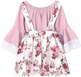 Fairy-Baby Kids Girls Long Bell Sleeve Solid Cotton T-Shirt+Floral Suspender Dress Skirt (Color : Pink, Size : 90)
