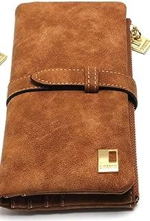 Women Black or Brown Zipper Wallet Suede Leather Clutch (Brown)